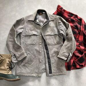Vintage-Woolrich-Rugged-Wool-Heather-Gray-Button-Up-Coat-Jacket-Mens-M-Medium