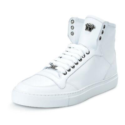 Versace Men's White Leather Medusa Hi Top Fashion Sneakers Shoes Sz 8 9 10 11 12