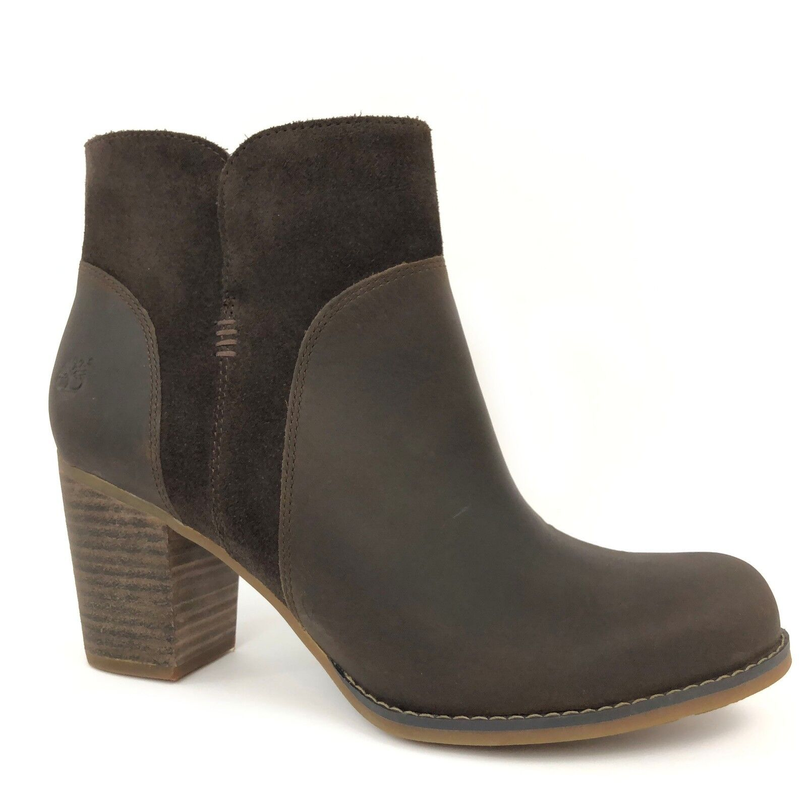 Timberland Women's Rudston Dark Brown Leather Ankle Heeled Boots A1621