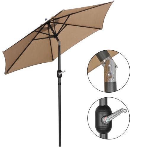 7.5FT Deluxe Sola  Patio Umbrella W/ Button Tilt /Crank Adjustment  Tan 6 Ribs Garden Structures & Shade