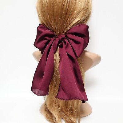 satin big glam bow hair elastic large stylish scarf knot tie bow ponytail holder Large Glam Bow