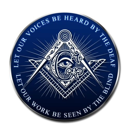 Let Our Voices be Heard Work be Seen Square & Compass Masonic Bumper Sticker