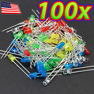 100x 3mm Led Light Assorted Kit Diy Leds Set White Yellow Red Green Blue