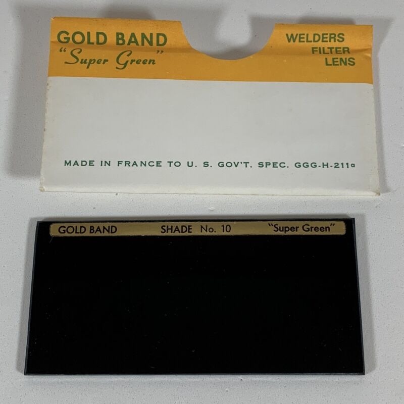 "NOS Vintage Gold Band ""Super Green"" Welders Welding Lens No. 10, Made in France"