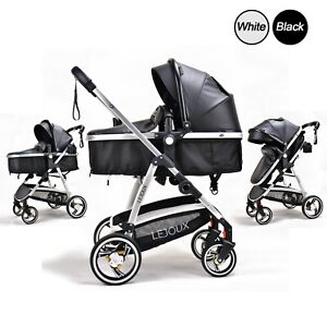 2 IN 1 BABY LEATHER PRAM STROLLER PUSHCHAIR CARRYCOT BUGGY FOLDABLE UK