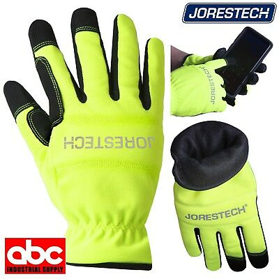 High Hi Visibility Gloves Safety Green Insulated Warm Winter Jorestech - Green Gloves