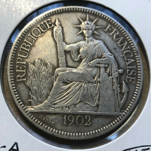 1902-A French Indo-China 1 Piastre Silver Coin AU+ Condition