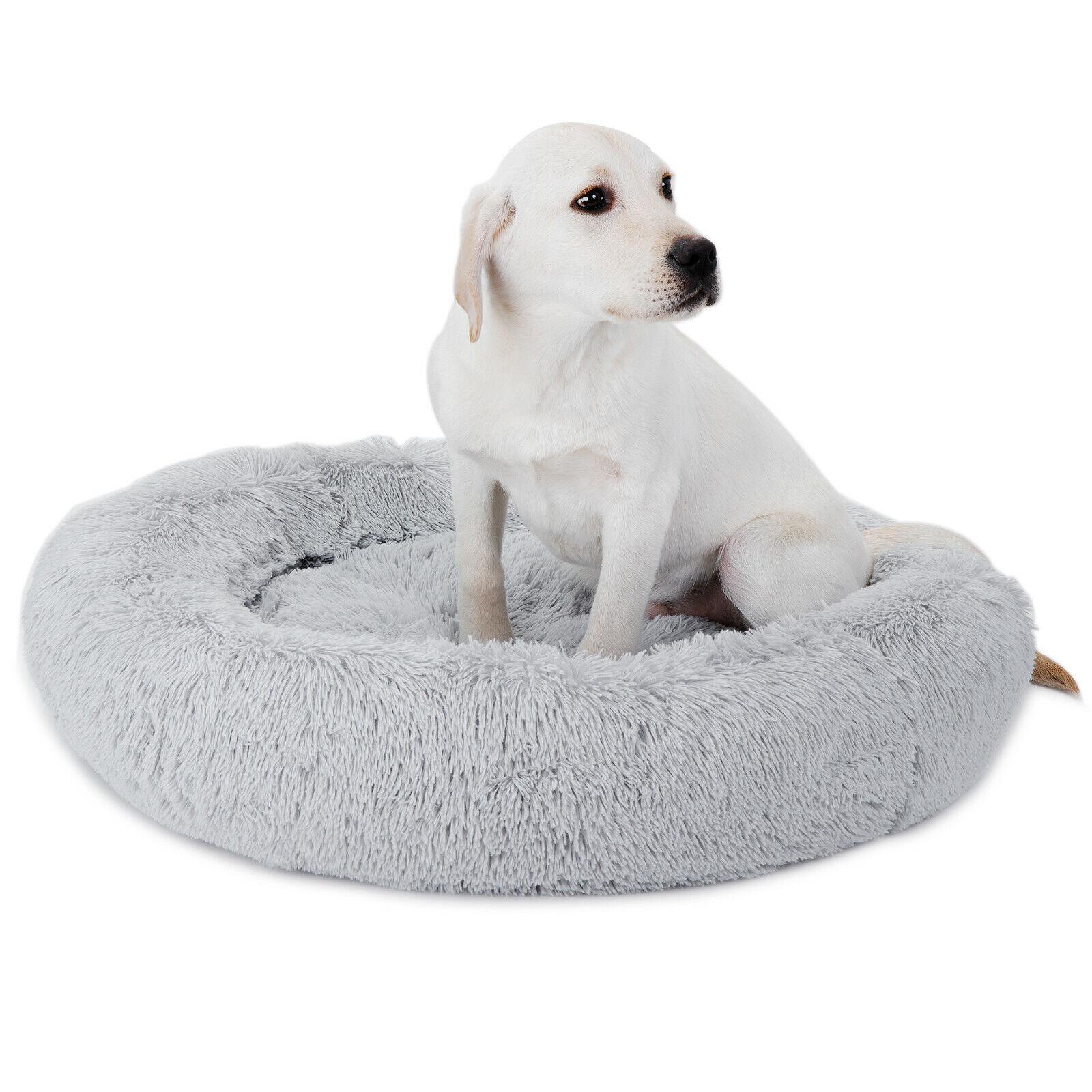 30″x30″ Grey Shaggy Fluffy Pet Bed Dog Cat Donut Cuddler Cushion Mats Machine Beds