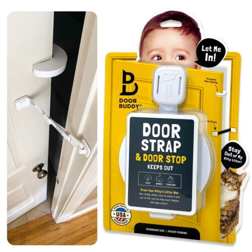 Baby Proof Door Latch with Door Stopper, Child Door Strap Door Prop, Door Buddy