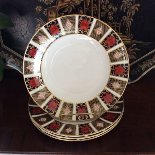 "Set Of 4 Royal Crown Derby Imari Border 10 5/8"" Dinner Plates"