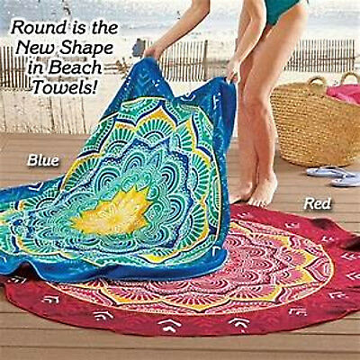100 % COTTON VELOUR TERRY ROUND BEACH BLANKET TOWEL STYLE MANDALA RED OR BLUE