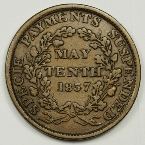 "1837-1841 Hard Times Token.  #68  ""May Tenth"".  A.U.  138222"