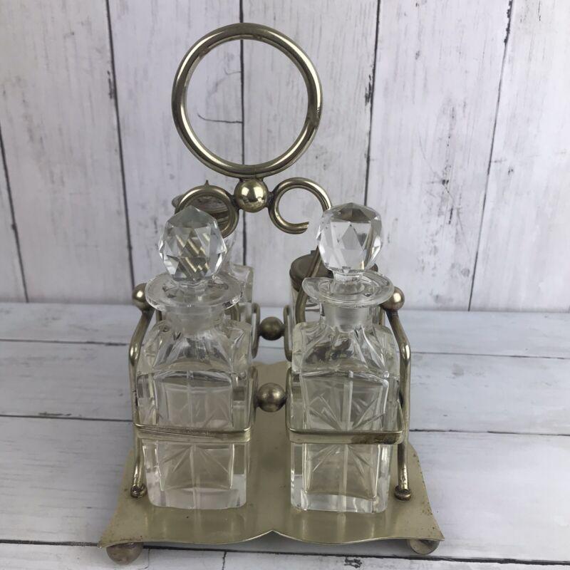Antique Cut Glass & Silver-plate Four Bottle Cruet Set Early 1900's EPNS