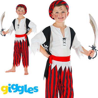 Boys Pirate Buccaneer Kids Child World Book Day Week Fancy Dress Costume - Childrens Pirate Fancy Dress Costumes