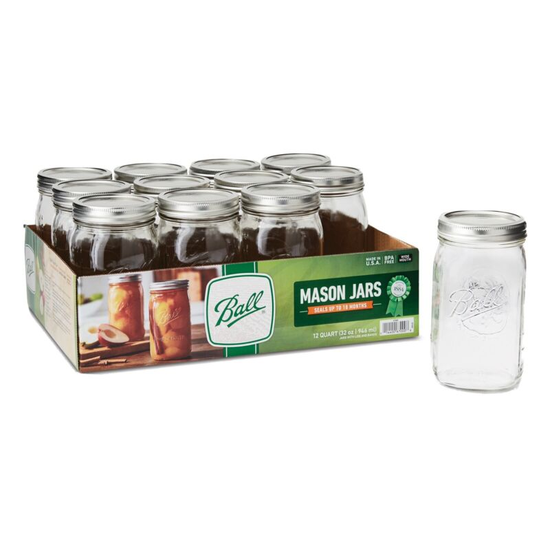 BALL 12pk 32oz Wide Mouth Quart Canning Mason Jars, Lids & Bands | Same Day Ship