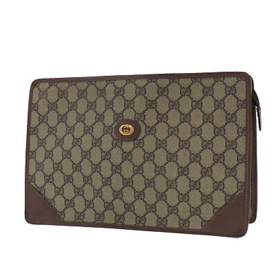 GUCCI GG Plus Clutch Pouch Brown PVC Leather Italy Vintage Authentic #PP720 O