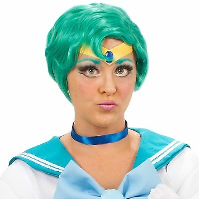 SAILOR MOON MERCURY SEXY GREEN WIG ANIME DRESS UP PUNK HALLOWEEN COSPLAY COSTUME
