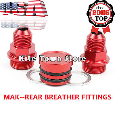 2PC NEO REAR BLOCK BREATHER FITTINGS FOR B16 B-16 B18C CATCH CAN M28 TO 10AN