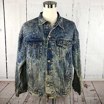 Vintage 80s 90s Mens Denim Jean Jacket XL ACID STAIN WASHED Trucker Oyster Blue Blue Acid Stain