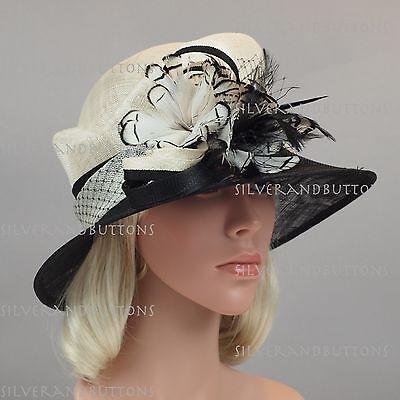 "New Woman Sinamay Wedding Kentucky Derby Church Downton Abbey Dress Hat 3"" Brim"