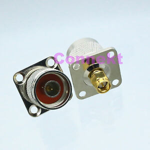 1pce-N-male-PLUG-to-SMA-male-PLUG-flange-mount-RF-adapter-connector-25mm