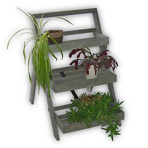 acacia bois plante fleurs escalier banc support pots de fleurs fleurs jardin ebay. Black Bedroom Furniture Sets. Home Design Ideas