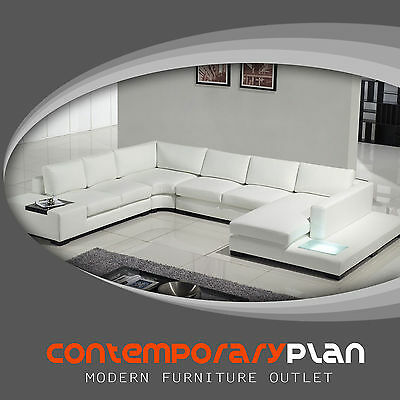 Contemporary White Leather Sectional Sofa with Built in Light,Table, Headrest