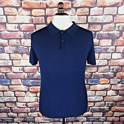 King and Tuckfield Mens Polo Shirt Ribbed Navy - BNWT - RRP £139