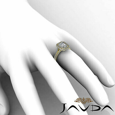 Double Halo Pave Split Shank Emerald Diamond Engagement Ring GIA H VS2 2.6 Ct 11