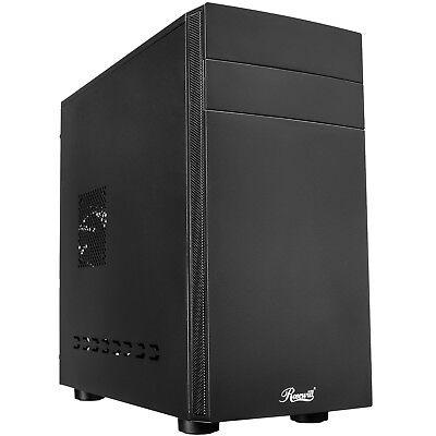 Micro ATX Computer Case, Mini Tower Office Desktop PC with USB 3.0, 80mm Fan (Black Plastic Desktop)