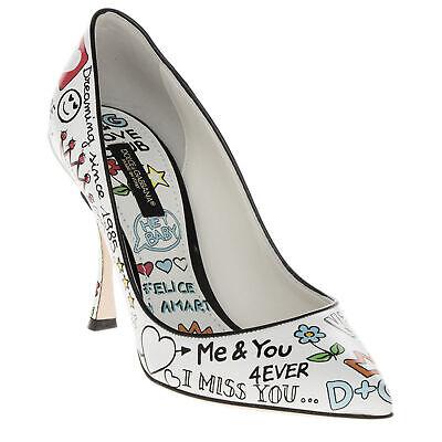 Dolce & Gabbana Women's Glossy Printed Love Graffiti Pumps Shoes White Dolce & Gabbana Print Heels