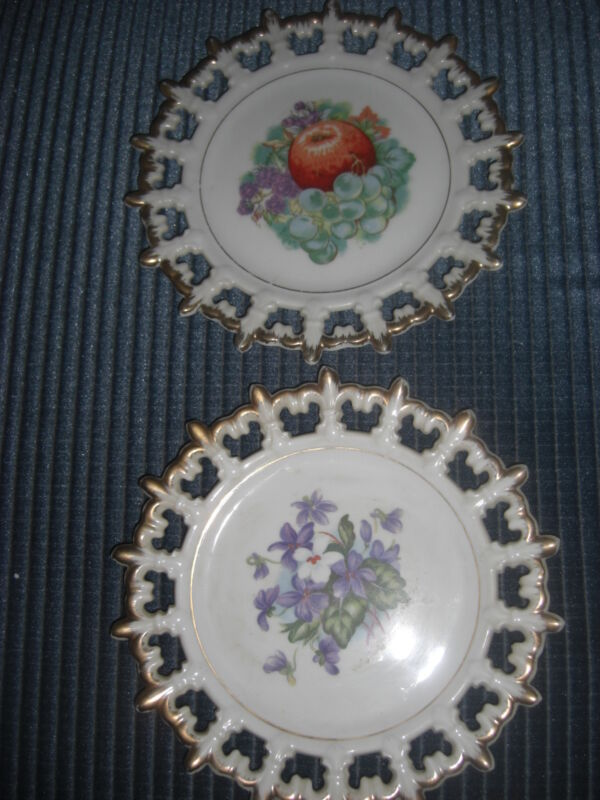 LOT OF 2 VINTAGE NAPCO CHINA FRUIT & VIOLETS LACEY EDGED WALL  PLATES