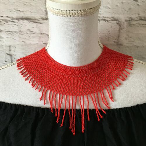 Womens Handmade Mexican Huichol Red Bead Necklace - Bohemian Bead Jewelry