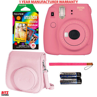 Fujifilm Instax Mini 9 Trice Camera Flamingo Pink, Rainbow Film, Camera State +