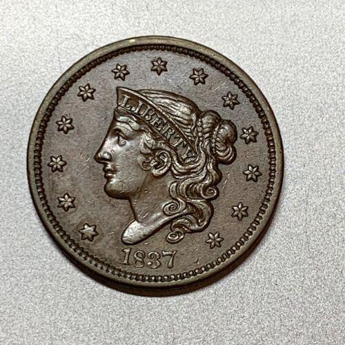 1837 CORNET HEAD LARGE CENT   XF+   N-9