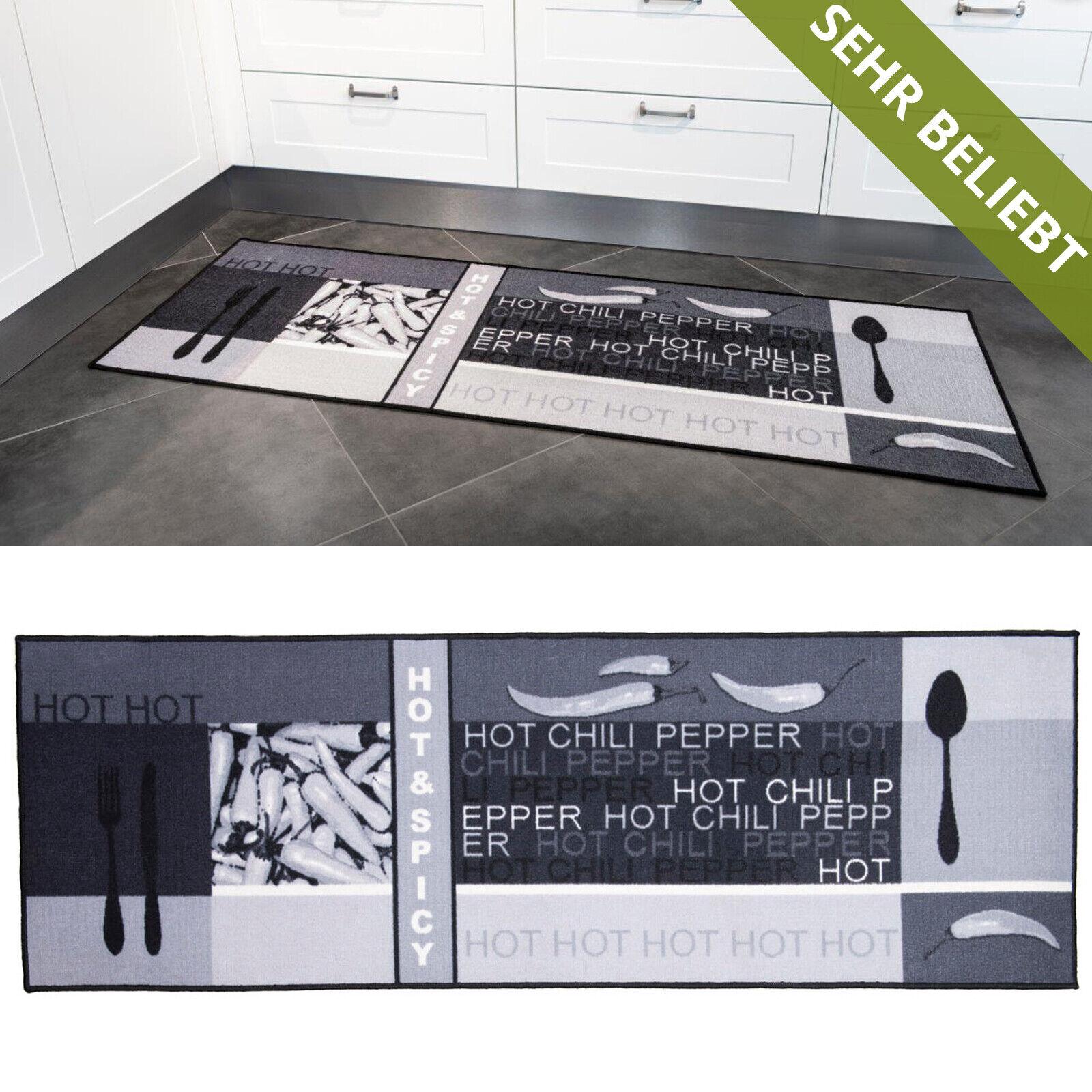 Küchenläufer Teppichläufer Chili Grau Waschbar Läufer Modern Küchenteppich