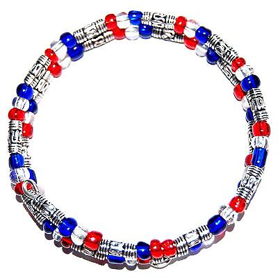 PATRIOTIC AMERICAN CZECH GLASS BEADED MEMORY WIRE BEAD BRACELET Made in USA #B17 Czech Glass Memory Wire Bracelet