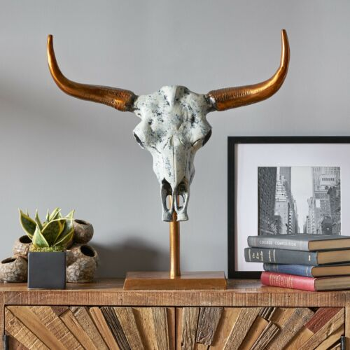 Appling Lowndes Handcrafted Aluminum Bull Skull Decor with Stand Home & Garden