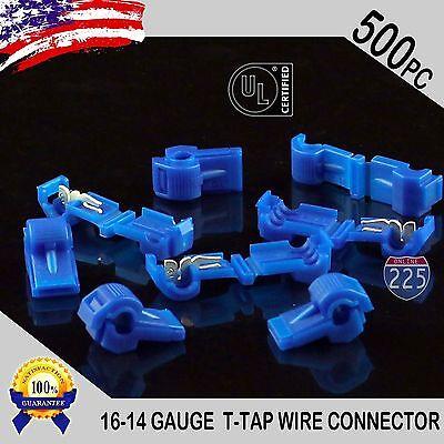 500 Pack T-taps Blue 16-14 Awg Gauge Quick Slide Connectors Car Audio Alarm Ul