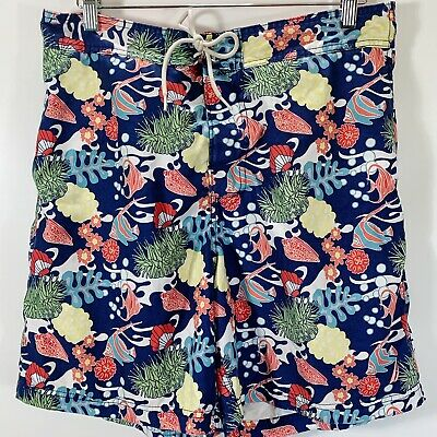 Nautica Size L Large Board Shorts Swim Trunks Lined Pocket Fish Print