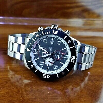 New Men's Adee Kaye Rally Chronograph Tachymeter ALL Stainless Steel Watch RARE  ()