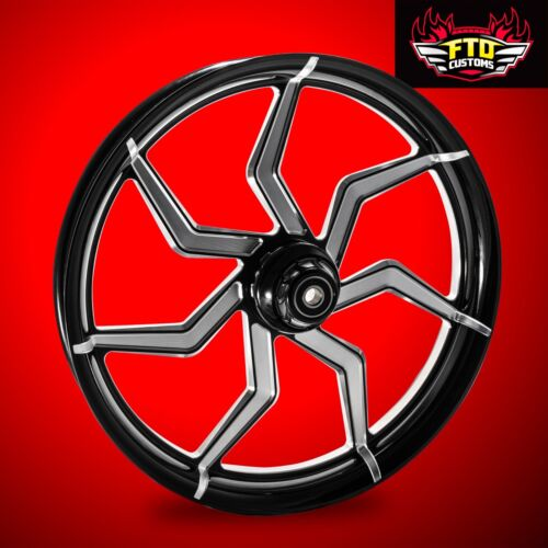 "2000-2007 Harley Black Contrast 30 Inch Front Wheel & Floating Rotors ""sniper"""