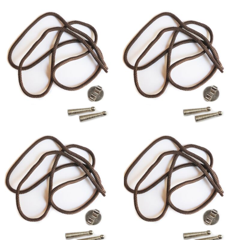 Blank Bolo Tie Parts Kit Round Slide Textured Tips Brown Cord Silvertone Pk/4