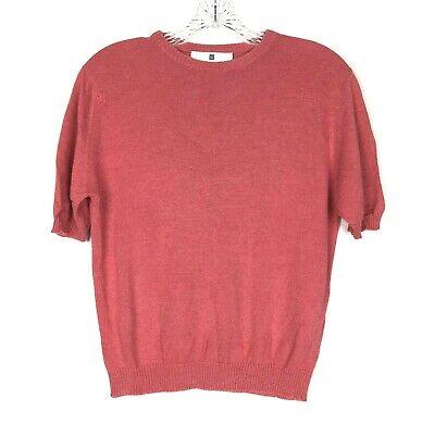 Ballantyne Sweater womens M Pink Silk Cotton Short Sleeve Vintage Pullover Shirt