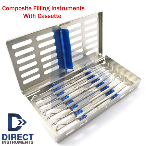 Dental Composite Filling Instruments Kit Spatula Plugger Restorative + Cassette