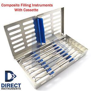 Dental Composite Filling Instrument Kit Restorative Spatula Plugger + Cassette
