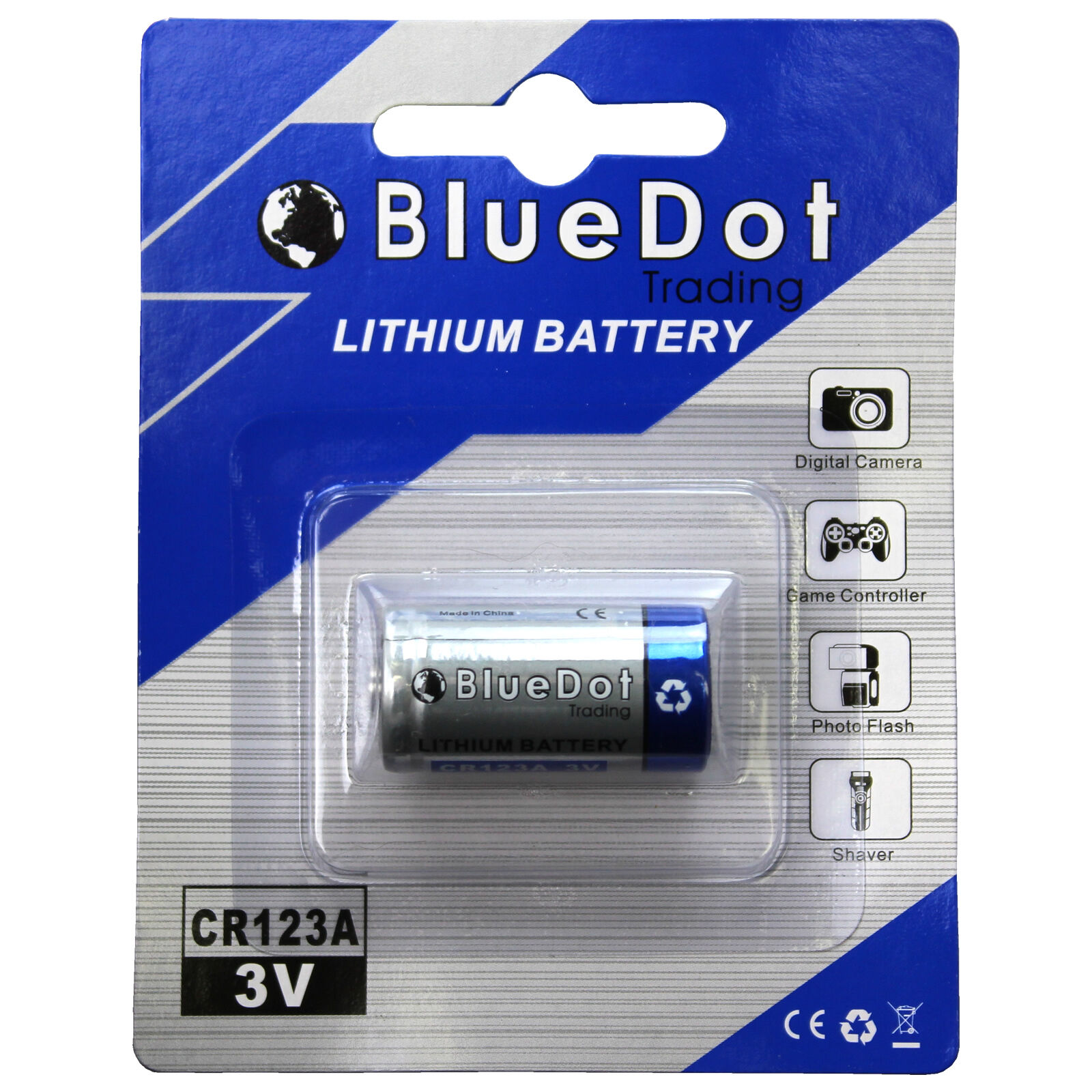 One  CR123A 23-155 3V Lithium battery by BlueDot Trading®