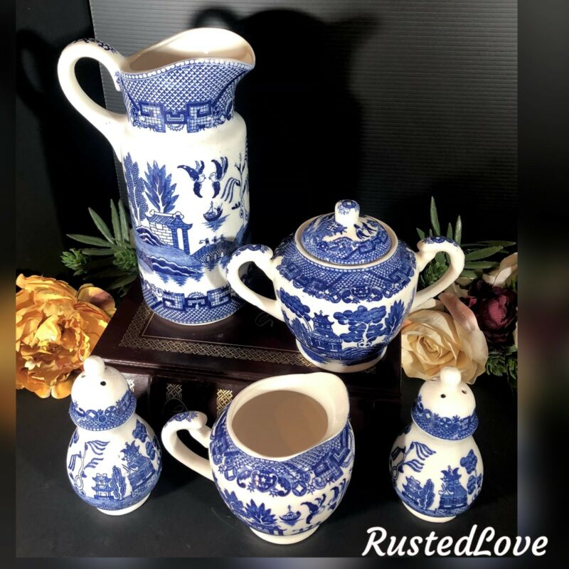 Antique Blue Willow JAPAN Pitcher, Salt and Pepper, Cream and sugar RARE