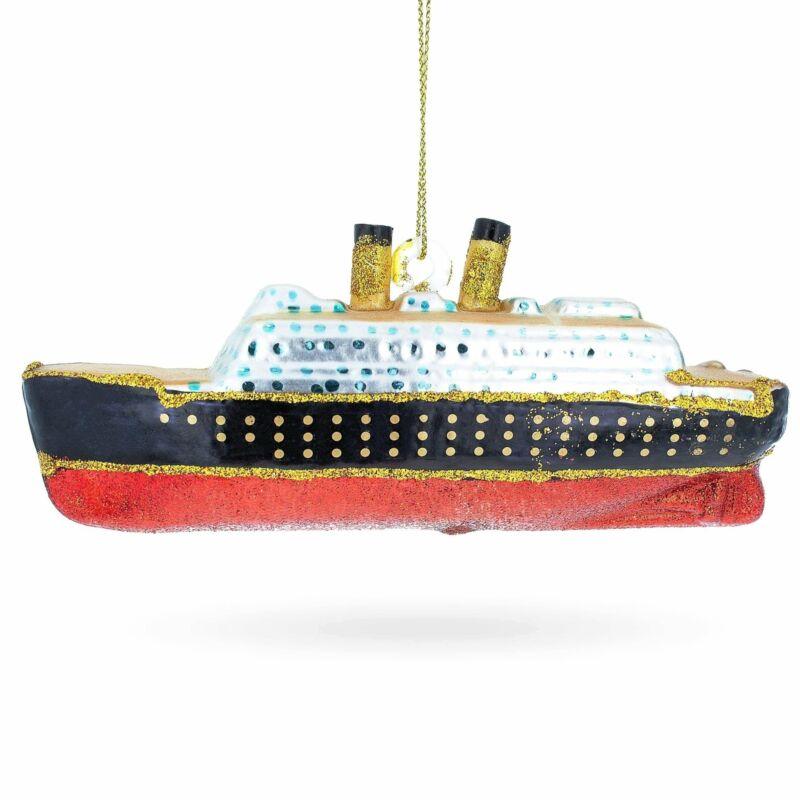 Titanic Ship Glass Christmas Ornament