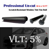 "Uncut Roll Window Tint Film 5% VLT 36"" In x 10' Ft Feet Car Home Office Glass"